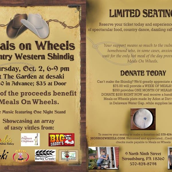 Please join us for this worthy cause!!! 100% off proceeds benefit Meals on Wheels!