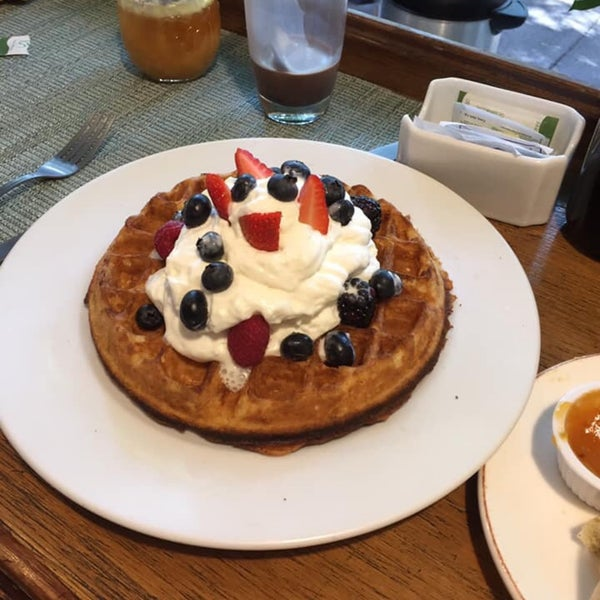 Delicious breakfast, try the waffles