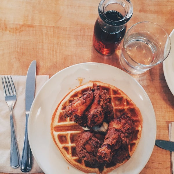 the chicken and waffles are very good