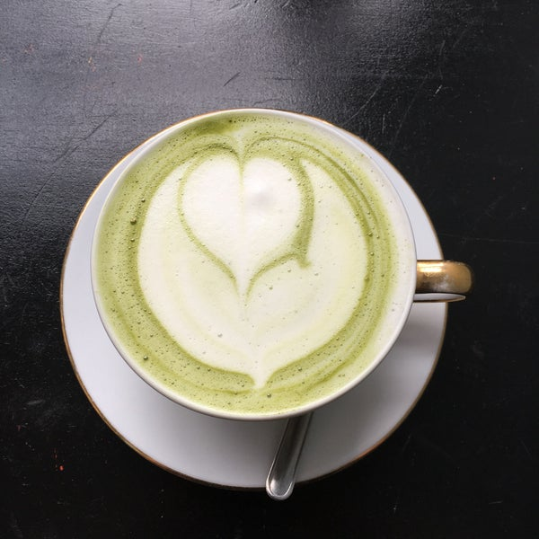 Lovely matcha lattes and drip coffees.