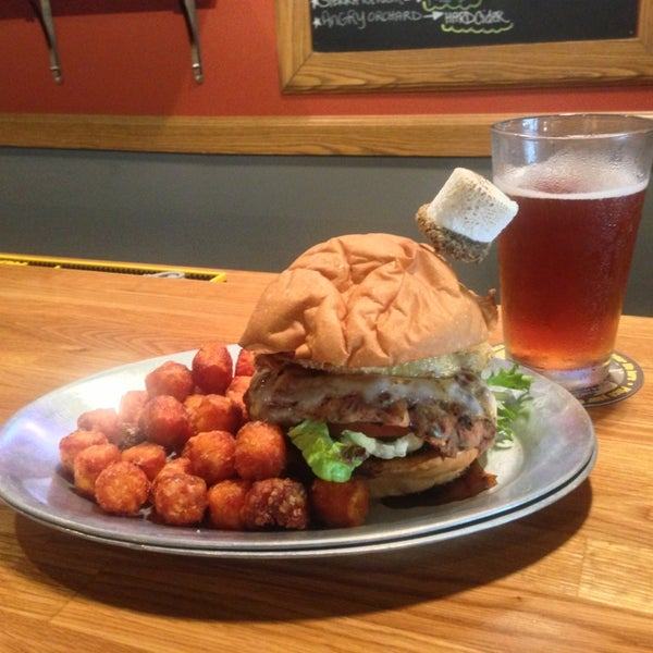 House made veggie burger, cold craft beer and sweet potato tots! Sold.