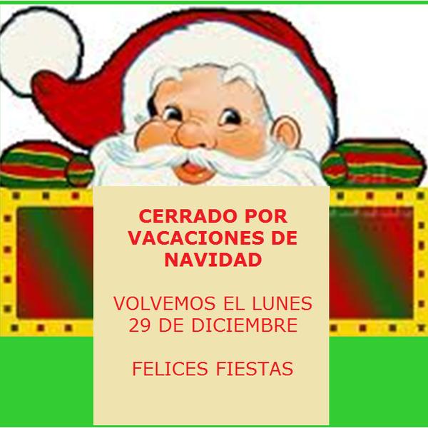 Estamos cerrados la semana de Navidad. Felices Fiestas!!