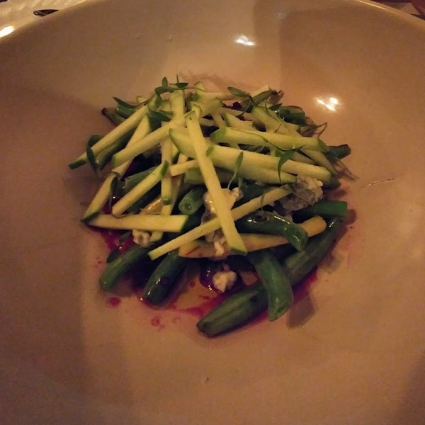 Warm green bean and green apple salad with blue cheese and vinaigrette. DELICIOUS!