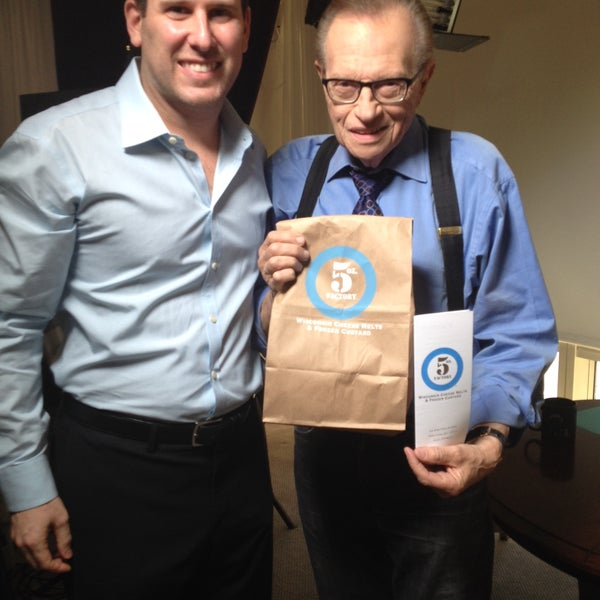 Larry King enjoyed his From WI to NY with LOVE melt and frozen custard today on set!