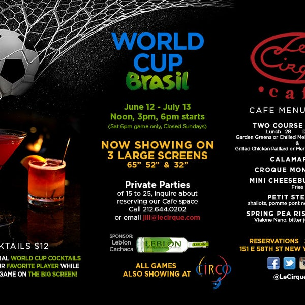 Join us for viewings of the World Cup 2014 games! We're offering specialty Leblon cocktails, beer, and our full cafe menu!