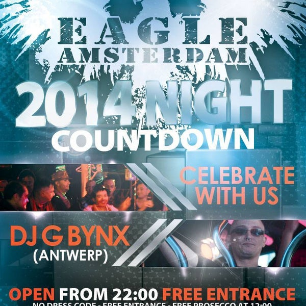 Celebrate New Years Eve 2014 with us, free entrance, no dress code and Live DJ G Bynx from Antwerp for hot beats. Open from 22:00-05:00. Warmoesstraat 90 Amsterdam