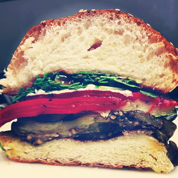 Give our daily specials a try. Today it's a roasted veggie sandwich with eggplant, roasted red pepper, mozzarella  + tomato jam. http://instagram.com/kitchen208#