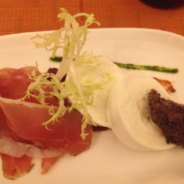 Prosciutto and buffalo mozzarella. Served with olive and tomato jam