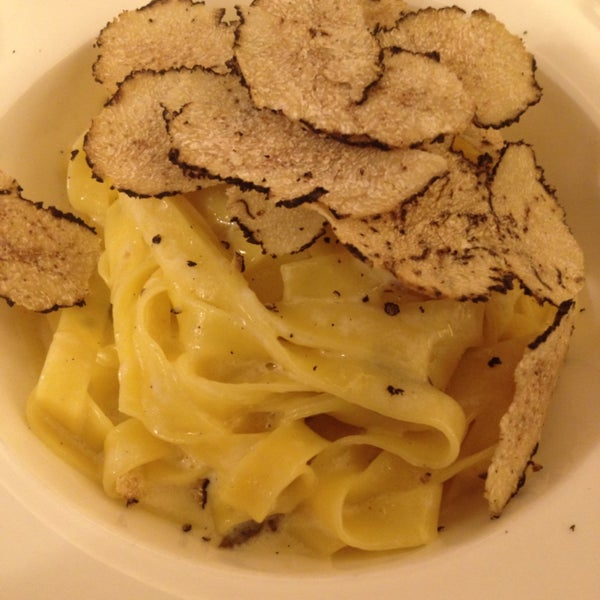 Fettuccini with shaved black truffle. First truffle of season. Amazing.