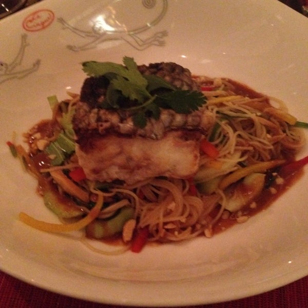 Sea bass with Asian noodles and peanut sauce. Very very nice.