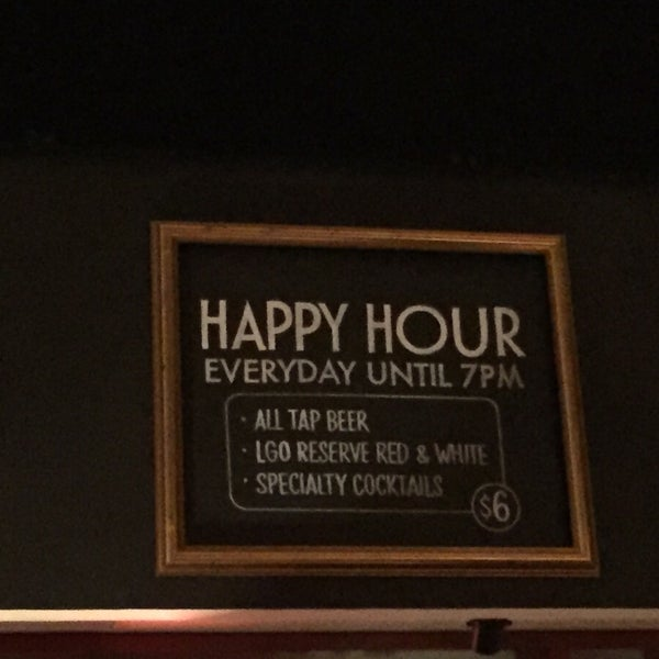 Happy Hour is everyday until 7PM! Featuring All Tap Beer, LGO Reserve Red & White Wine and Specialty Cocktails.