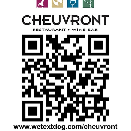 Cheuvront is now on We Text Dog network! Scan their QRCODE for their mobile coupons $10 off a $40 food purchase! Or text FREEDEALS to 27126