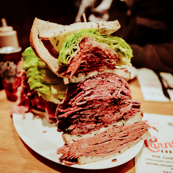 "When Carmelo Anthony came to town the deli immortalized him with a meat monument known as ""The Melo"". It's a skyscraper of pastrami, salami, corned beef, lettuce, tomato, Russian dressing and bacon."