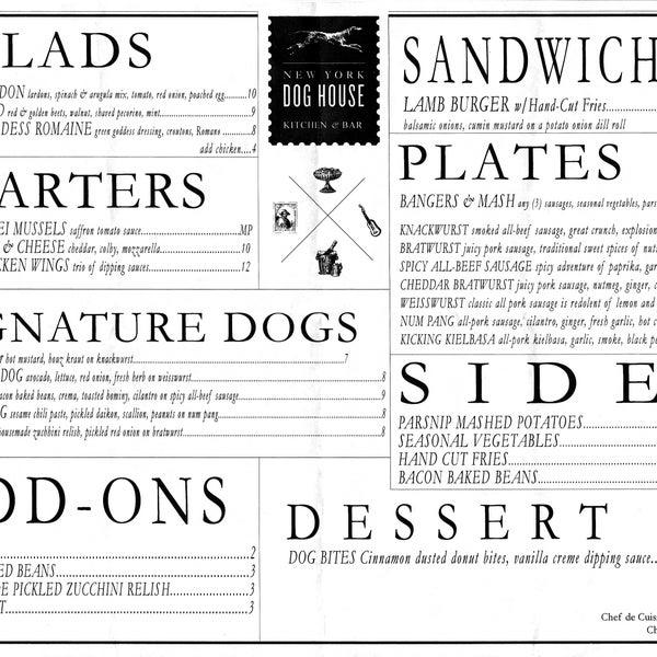 The menu as of 10/09/2013