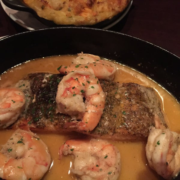 Wild caught Alaskan salmon BBQ shrimp🍤, lobster mash GROSSLY over priced and not that great, green beans minus bacon were great and the steaks that my son and husband had were great (NY strip)