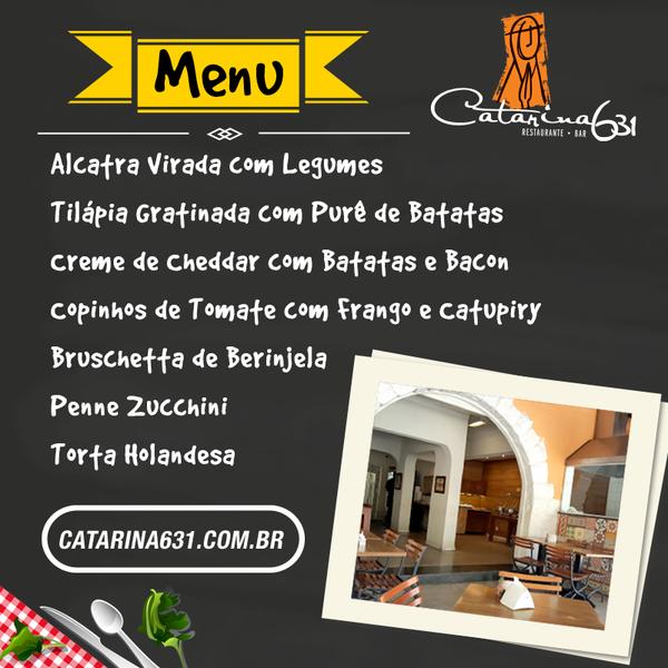 O menu especial de sexta feira esta delicioso. Venha almoçar no Catarina631 das 11:30 ás 15 horas. Rua Santa Catarina, 631, Bairro de Lourdes, BH - MG