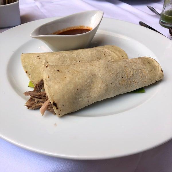 Tacos de lechon and tamale de mole