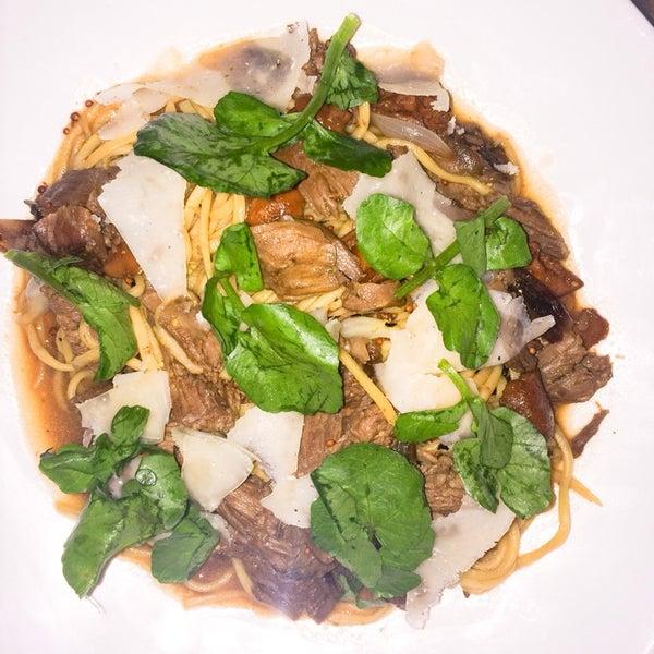 Try the dish on the menu: Chitarra Pasta with Lamb Ragu!