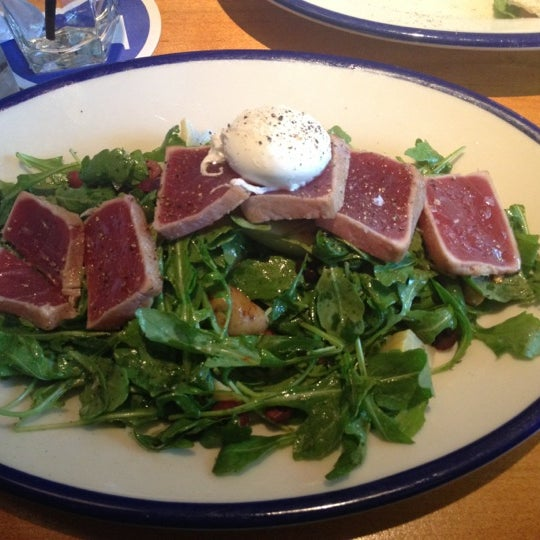The Seared Tuna Niçoise was fresh and delish. A must.  The hummus is always on our list too.