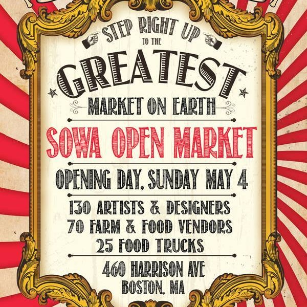 Very excited to be among other talented artists & designers at the SoWa Open Market Opening Day this Sunday, May 4th! #sowaopeningday
