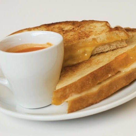 We're actually looking forward to a rainy day, so we can feel all cozy dunking the crispy grilled cheese in tomato soup.