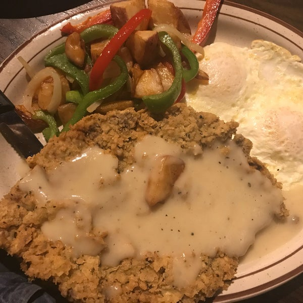 Ordered the Chicken Fried Steak breakfast: a beautifully pounded/flattened steak, sadly over-breaded for my taste, with home fries (I ordered crispy then were not), two eggs over medium (perfect).