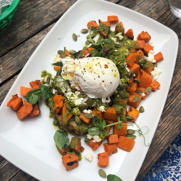 Great poached eggs on sourdough; menu is varied and lengthy and setting is friendly