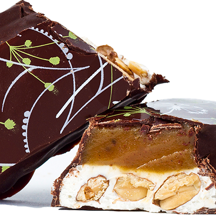 The Mayana Space Bar (sold here) is a gigantic slab of chewy vanilla nougat with crunchy nuts covered in sea salt caramel and then dipped in dark chocolate. Pair it with a good red wine.
