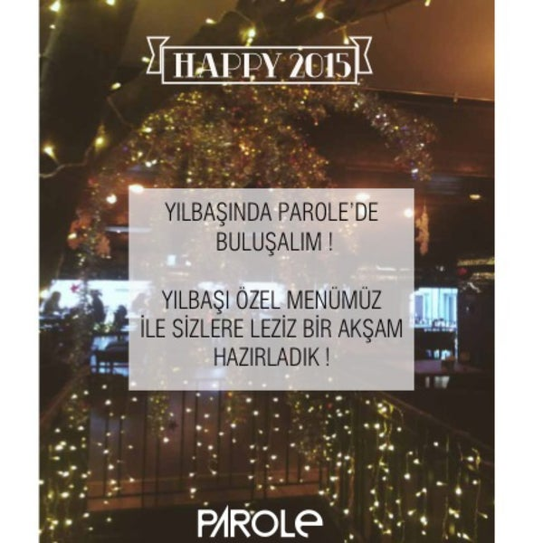Parole Yılbaşı rezervasyonlarımız başlamıştır. Sizin için hazırladığımız yeni yıl menümüzü, yer ve fiyat bilgisini öğrenmek için iletişim numaralarımızdan bize ulaşın! #parole #istiklal #yeniyıl #yılb