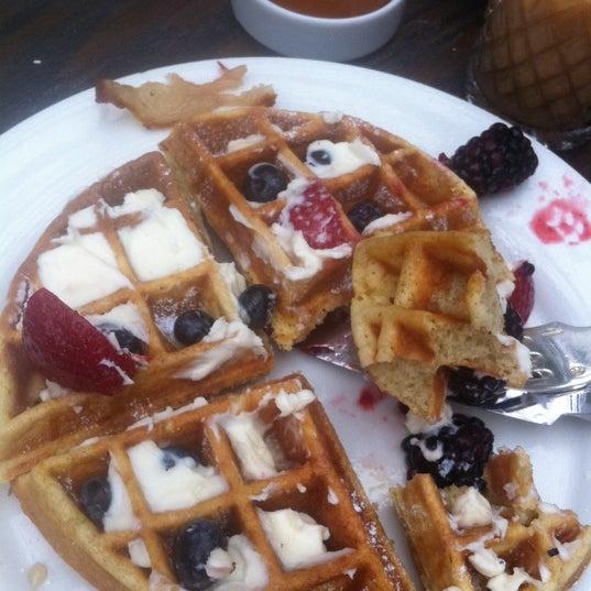 Waffle w/ mascarpone cheese and berries!!