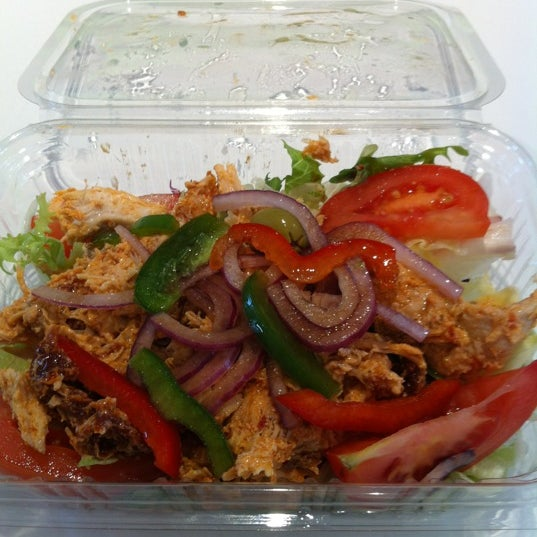 """Ask for the """"secret"""" chicken salad. Delicious roast chicken in mayo and sun dried tomato with salad and balsamic olive oil dressing."""