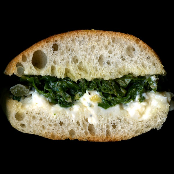 Sautéed Greens, Ricotta, On Ciabatta.