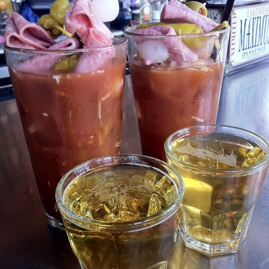 Bloody Marys with beer chasers and meat sticks are best in Chicago. #winning