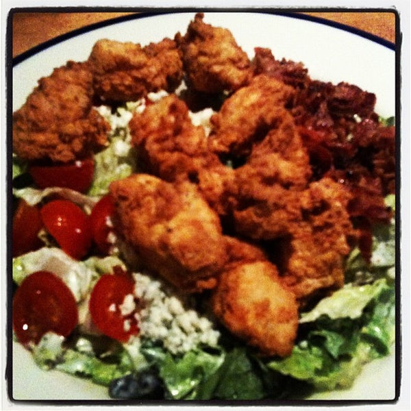 "3 delicious words: ""Buttermilk Fried Chicken"". They made it a salad with applewood smoked bacon, tomatoes, blue cheese, and avocado— sub in their ranch dressing and you have one of my favorite salads!"