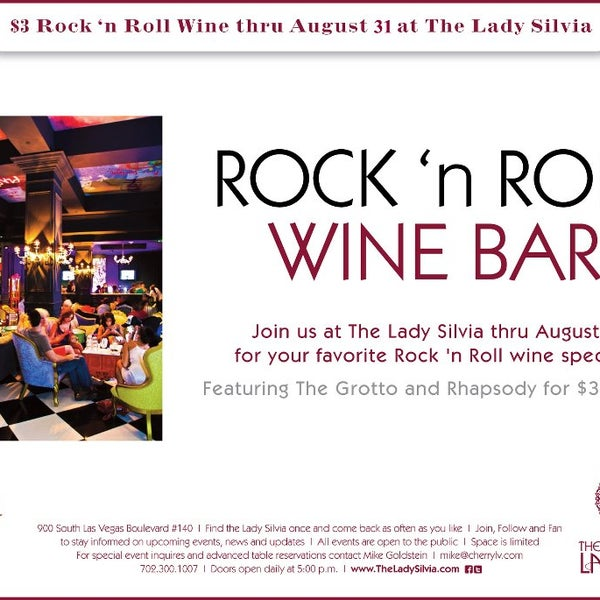 You have until 8/31 to enjoy our $3 Rock and Roll wine special!