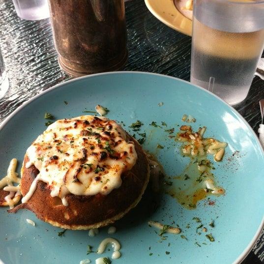 Waflizza with pomodoro and mozzarella, torched. Yum!