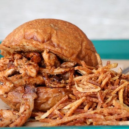 The 16hr pulled pork burger literally has a colossal mountain of probably the best fries EVER paired with it. The two make for the most heavenly duo. Now go man-out.