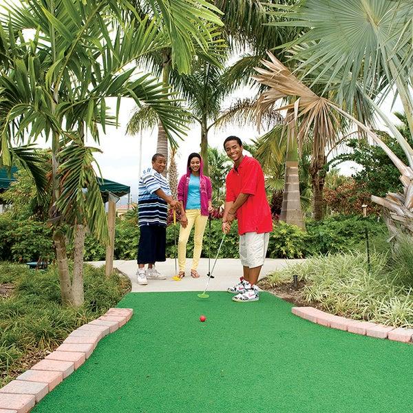Mini golf is fun with friends.