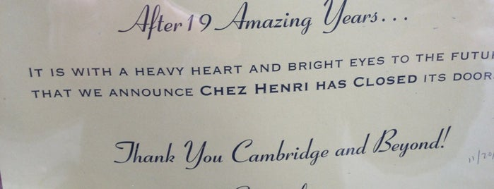 Chez Henri is one of Boston Eats Bucket List.