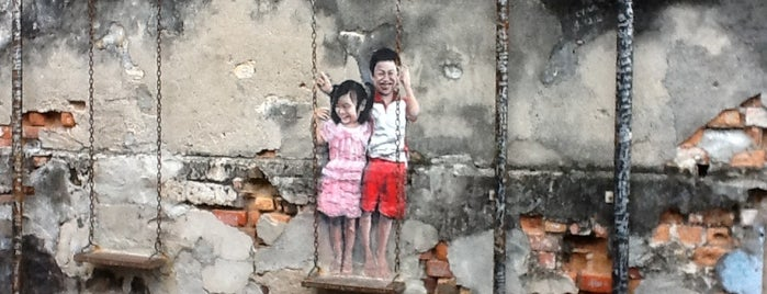 Penang Street Art : Brother and Sister on a Swing is one of Penang Art.