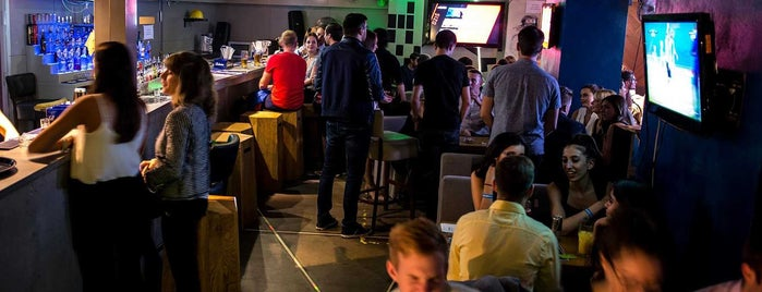 Level up is one of Level up Your Drinking at These 15 Bar-Arcades.