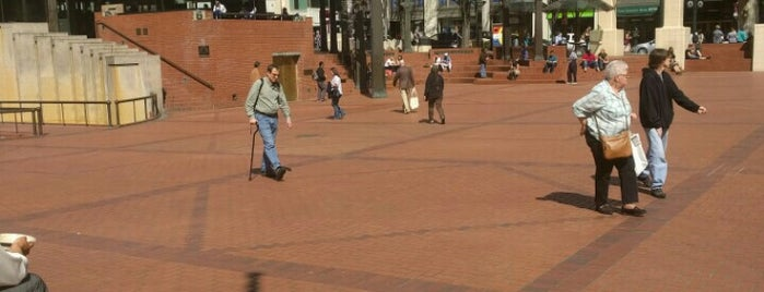 Pioneer Courthouse Square is one of PDX Rose Fest.