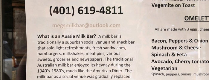 Megs' Aussie Milk Bar is one of Newport, RI.