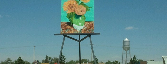 """Giant Van Gogh """"Sunflowers"""" Painting is one of Quirky Landmarks USA."""