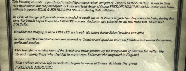 Birthplace of Freddie Mercury is one of Crazy Places.