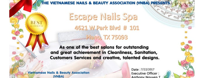 Escape Nails Spa is one of barbie'nin Kaydettiği Mekanlar.