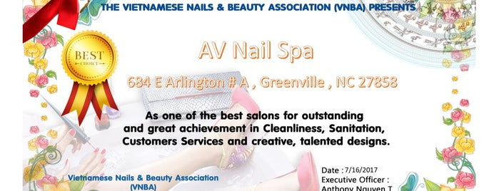 AV Nail Spa is one of Jenny's Liked Places.