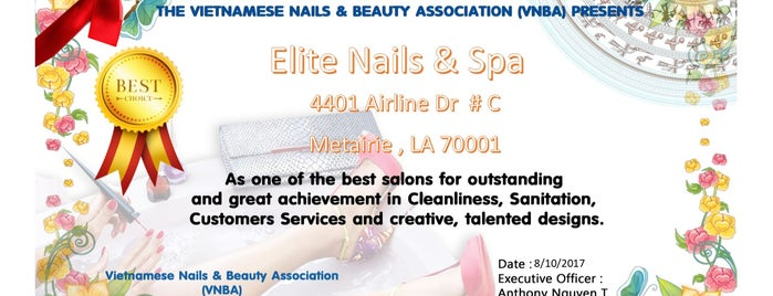 Elite Nails & Spa is one of Tempat yang Disukai Isabella.