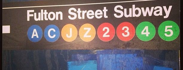 MTA Subway - Fulton St (A/C/J/Z/2/3/4/5) is one of Tempat yang Disukai Jason.