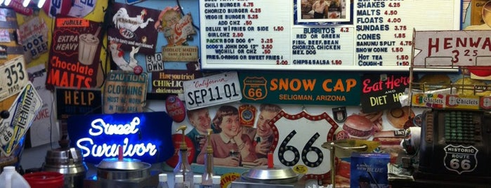 Delgadillo's Snow Cap Drive-In is one of Route 66.